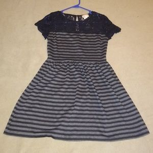 Black and gee striped dress